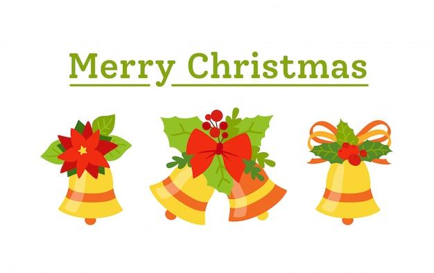 Wesołych świąt bożego narodzenia dzwonki z kokardkami i pozdrowieniami ostrokrzewu. wakacyjna złota kampania kolekcja. ilustracja na białym tle