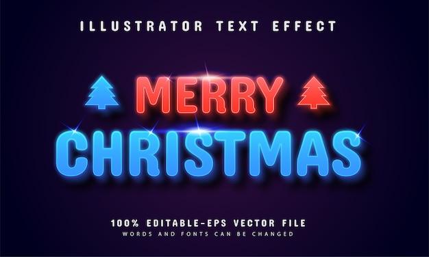 Wesołych świąt bożego narodzenia efekt tekstowy w stylu neonowym