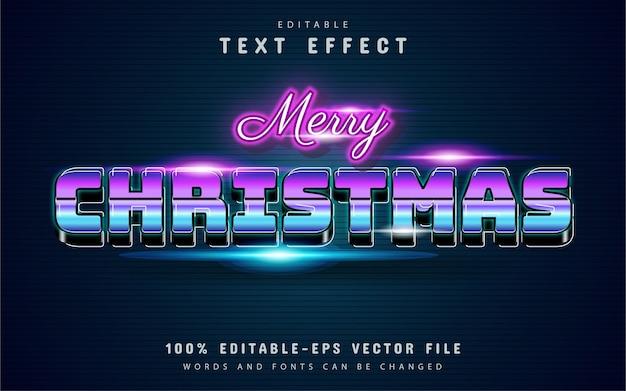 Wesołych świąt bożego narodzenia efekt tekstowy w stylu retro