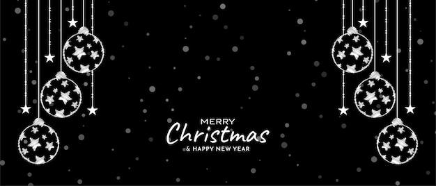 Wesołych świąt bożego narodzenia elegancki ozdobny transparent wektor