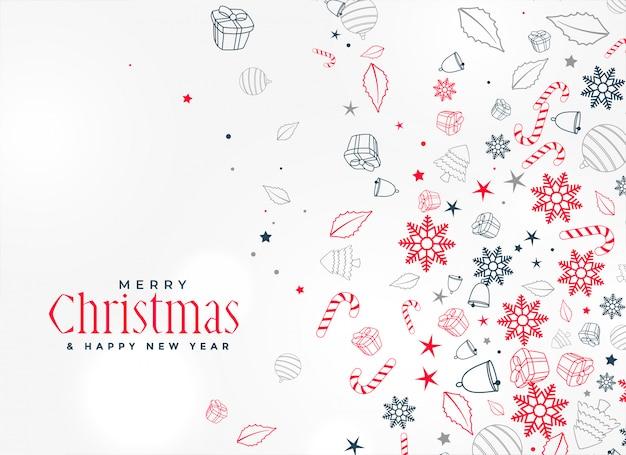 Wesołych świąt bożego narodzenia element ozdobny wzór tła