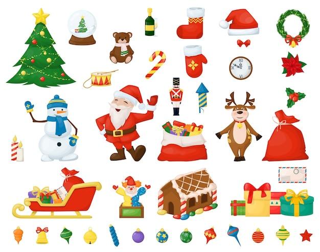 Wesołych świąt bożego narodzenia elementy świąteczne. święta nowego roku. boże narodzenie ilustracja świętego mikołaja.