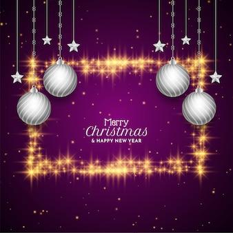 Wesołych świąt bożego narodzenia festiwal błyszczy tło ramki