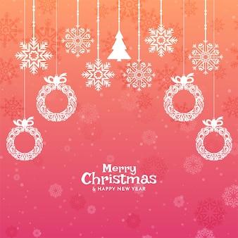 Wesołych świąt bożego narodzenia festiwal kolorowe tło z elementami dekoracyjnymi