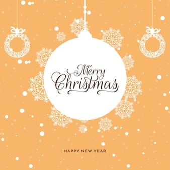 Wesołych świąt bożego narodzenia festiwalu miękkie żółte tło