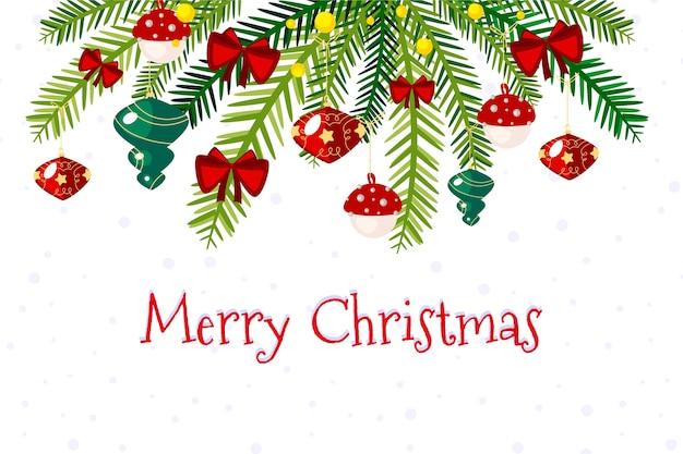 Wesołych świąt bożego narodzenia gałęzie drzewa tło