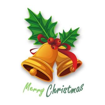 Wesołych świąt bożego narodzenia golden bells with jemioła