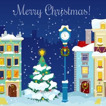 Wesołych świąt bożego narodzenia gród ze śniegu, domy i choinkę z życzeniami.
