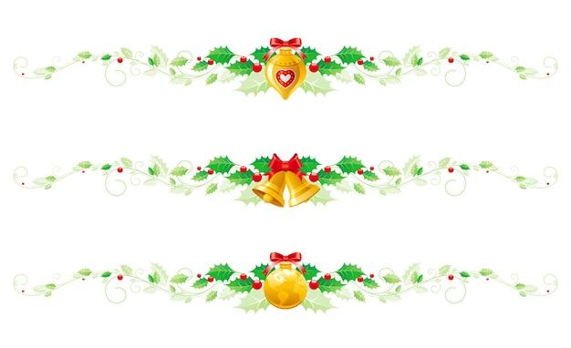 Wesołych świąt bożego narodzenia holly girlanda z kokardą, dekoracją choinkową, dzwoneczkami.