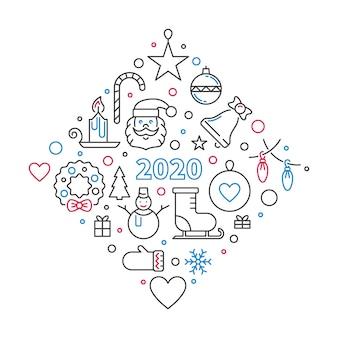 Wesołych świąt bożego narodzenia i nowego roku 2020 liniowa ilustracja