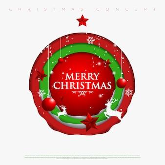 Wesołych świąt bożego narodzenia i nowego roku koła tło z płatki śniegu, gwiazdy, jelenie i choinki wykonane z warstw papieru wycinanego. .