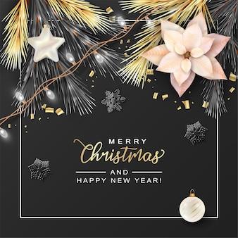 Wesołych świąt bożego narodzenia i nowego roku transparent