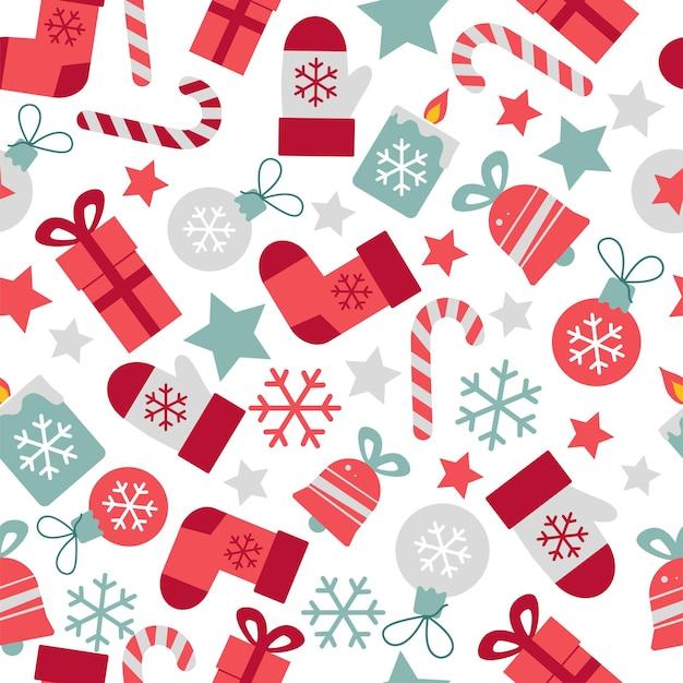Wesołych świąt bożego narodzenia i nowego roku wektor wzór do dekoracji papieru do pakowania
