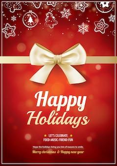 Wesołych świąt bożego narodzenia i plakat złota wstążka