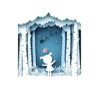 Wesołych świąt bożego narodzenia i zima sezon tło. dziewczyna i jej prezent od świętego mikołaja w saniach.
