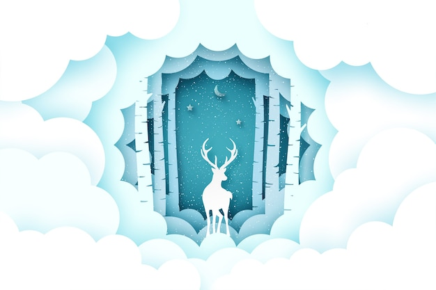 Wesołych świąt bożego narodzenia i zima sezon tło. jeleń w sosnowym lesie z chmurą.