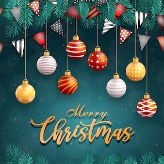Wesołych świąt bożego narodzenia ikona z piłką na niebiesko