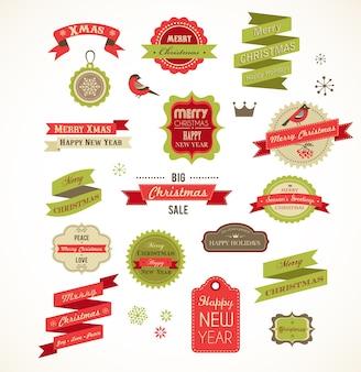 Wesołych świąt Bożego Narodzenia Ikony I Kolekcja Elementów Graficznych. Ilustracja Premium Wektorów
