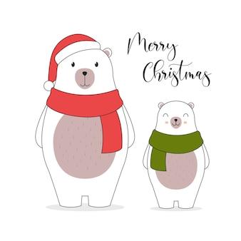 Wesołych świąt bożego narodzenia ilustracja karty. . śliczne postacie niedźwiedzia polarnego.