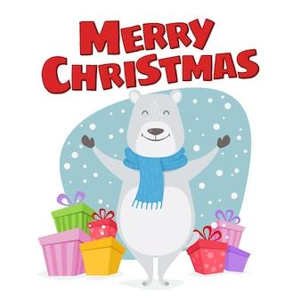 Wesołych świąt bożego narodzenia ilustracja ładny. szczęśliwy miś polarny z prezentami życzy wesołych świąt.