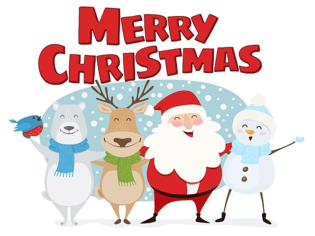 Wesołych świąt bożego narodzenia ilustracja ładny. wesołych świąt życzy święty mikołaj, renifer rudolf, niedźwiedź polarny, bałwan.