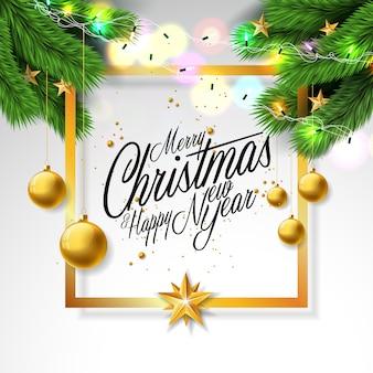 Wesołych świąt bożego narodzenia ilustracja na białym tle
