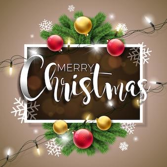 Wesołych świąt bożego narodzenia ilustracja na brązowym tle z typografii i wakacje światła garland, oddział pine, płatki śniegu i ozdobnych piłkę.