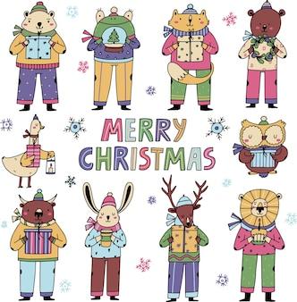 Wesołych świąt bożego narodzenia ilustracja słodkie zwierzęta