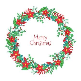 Wesołych świąt bożego narodzenia ilustracja wieniec