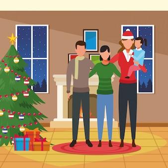 Wesołych świąt bożego narodzenia ilustracja z avatar ludzi i małą dziewczynką