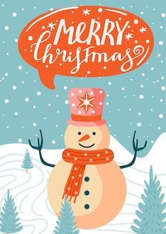 Wesołych świąt bożego narodzenia ilustracja z bałwana, jodły, śniegu i napis.