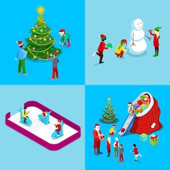 Wesołych świąt bożego narodzenia izometryczny zestaw kart okolicznościowych. mikołaj z prezentami, choinka z dziećmi, lodowisko. ilustracja
