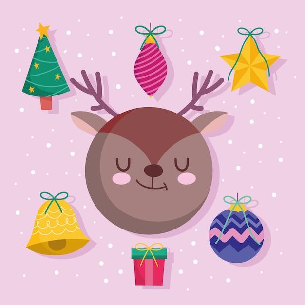 Wesołych świąt bożego narodzenia jelenie piłki drzewo i dzwonek dekoracji i ikony sezonu ornamentów