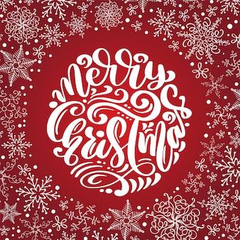Wesołych świąt bożego narodzenia kaligrafia wektor tekst z płatki śniegu