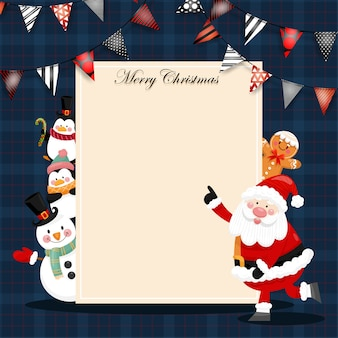 Wesołych świąt bożego narodzenia kartka z mikołajem, bałwanem i pudełkiem prezentowym.