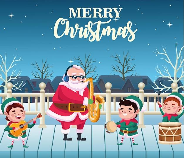 Wesołych świąt bożego narodzenia kartka z napisem z mikołajem i elfem grającym na instrumentach ilustracji