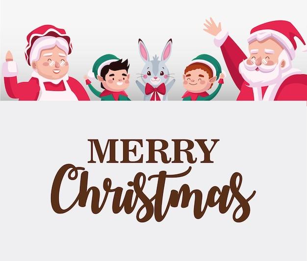 Wesołych świąt bożego narodzenia kartka z napisem z rodziną mikołaja, elfami i królikiem