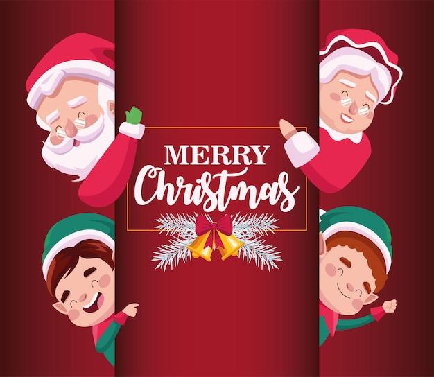 Wesołych świąt bożego narodzenia kartka z napisem z rodziną mikołaja i elfami ilustracja