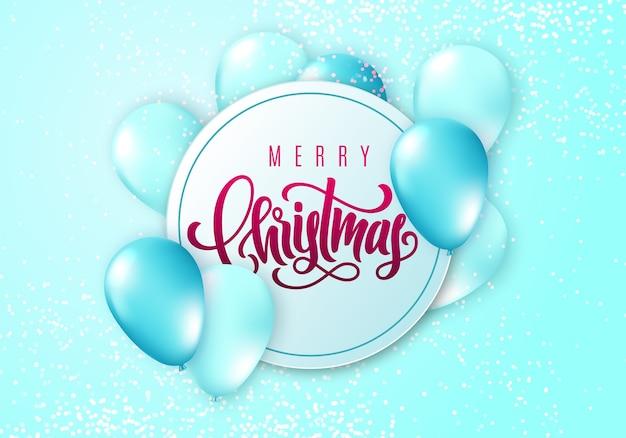 Wesołych świąt bożego narodzenia kartka z realistycznymi błyszczącymi latającymi balonami