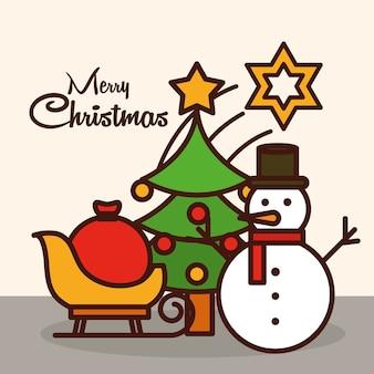 Wesołych świąt bożego narodzenia, kartka z życzeniami bałwan drzewo gwiazda sanki z ikoną wypełnienia linii ilustracja torba