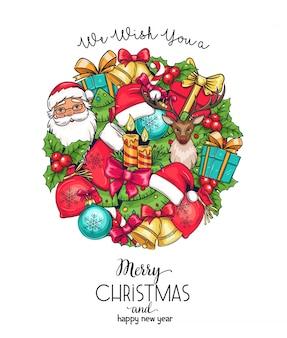 Wesołych świąt bożego narodzenia kartka z życzeniami z prezentem, dzwonkami, kapeluszem, jeleniem i choinką. świece, łuk, ostrokrzew, słodycze i święty mikołaj. tło z wiadomością szczęśliwego nowego roku.
