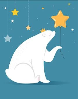 Wesołych świąt bożego narodzenia kartkę z życzeniami, baner. biały niedźwiedź polarny trzyma złoty balon gwiazda, ilustracja kreskówka wektor