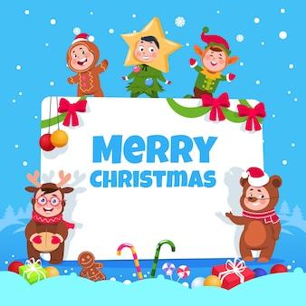 Wesołych świąt bożego narodzenia kartkę z życzeniami. dzieci w strojach świątecznych tańczą na imprezie z okazji wakacji zimowych dla dzieci. plakat