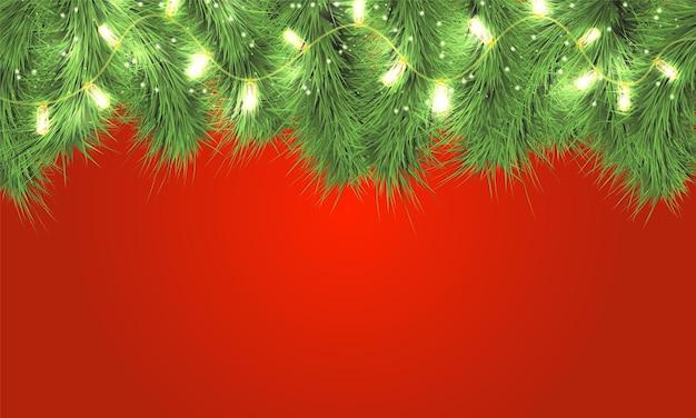 Wesołych świąt bożego narodzenia kartkę z życzeniami. gałęzie choinkowe z błyszczącymi światłami. świąteczna girlanda.