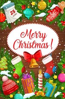 Wesołych świąt bożego narodzenia kartkę z życzeniami girlandy choinkowe z prezentami
