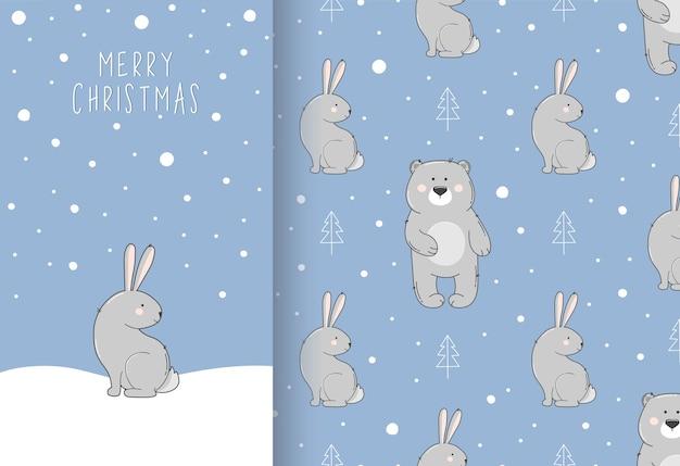 Wesołych świąt bożego narodzenia kartkę z życzeniami i wzór z zająca i niedźwiedzia