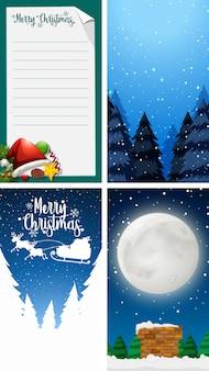 Wesołych świąt bożego narodzenia kartkę z życzeniami lub list do świętego mikołaja z szablonu tekstu
