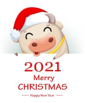 Wesołych świąt bożego narodzenia kartkę z życzeniami. postać z kreskówki ładny krowa