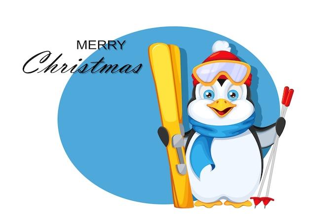 Wesołych świąt bożego narodzenia kartkę z życzeniami. śliczny pingwin z nartami