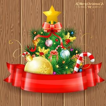 Wesołych świąt bożego narodzenia kartkę z życzeniami z choinki i wstążki
